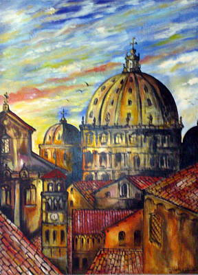 Poster featuring the painting Roman Roofs by Roberto Gagliardi