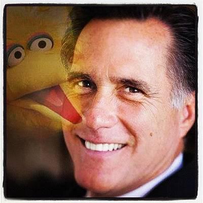 Romney + Big Bird #romney #mitt Poster