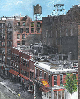 Poster featuring the painting Roof Tops Ny Ny by Stuart B Yaeger