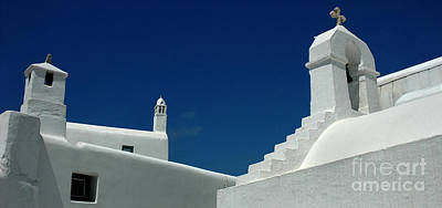 Rooftops Of Mykonos Poster by Vivian Christopher