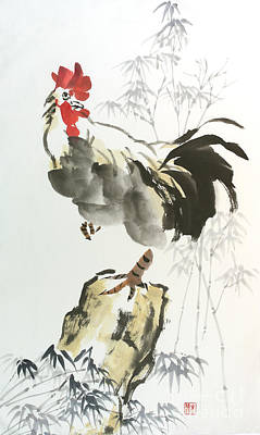 Poster featuring the painting Rooster by Yolanda Koh