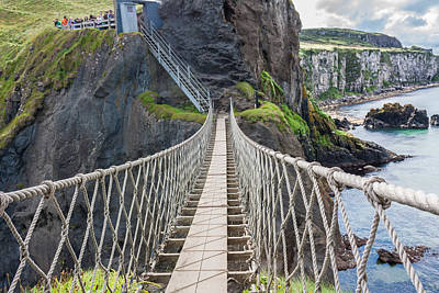 Rope Bridge At Carrick-a-rede In Northern Island Poster by Semmick Photo