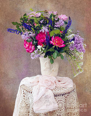 Poster featuring the photograph Roses And Lilac  by Cheryl Davis