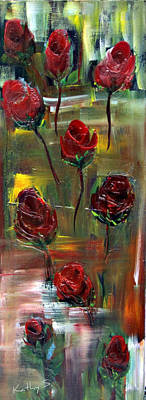 Poster featuring the painting Roses Free by Kathy Sheeran