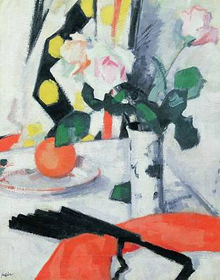 Roses In A Chinese Vase With Black Fan Poster by Samuel John Peploe
