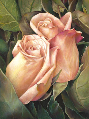 Poster featuring the painting Rosey Embrace by Nancy Tilles