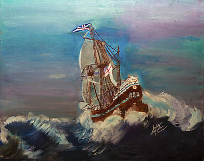 Poster featuring the painting Rough Seas by Swabby Soileau