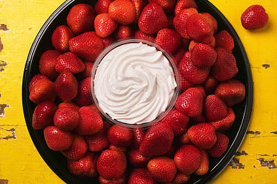 Round Tray Of Strawberries  Poster by Garry Gay