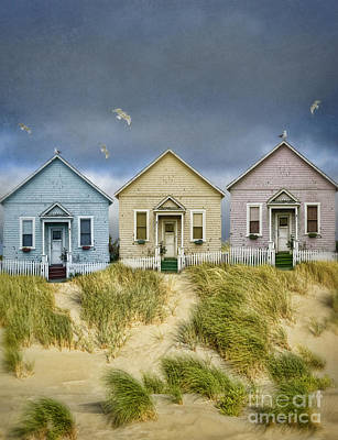 Row Of Pastel Colored Beach Cottages Poster by Jill Battaglia