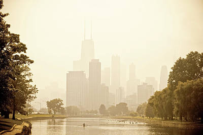 Rower In Mist With Downtown Chicago In The Background Poster by Andria Patino