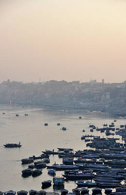 Rowing Boats On Ganges River Poster