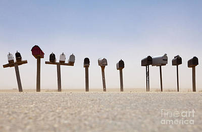 Rows Of Mailboxes And Desert Dust Poster by Paul Edmondson