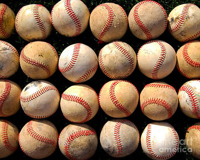 Rows Of Old Baseballs Poster by Ben Haslam