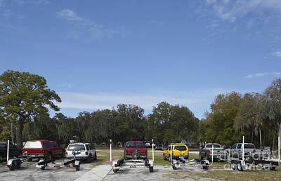 Rows Of Vehicles With Boat Trailers Poster