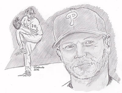 Poster featuring the drawing Roy Halladay by Chris  DelVecchio