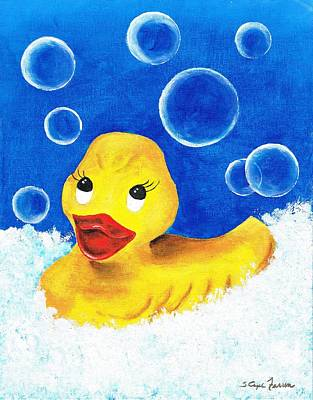Poster featuring the painting Rubber Ducky by Sarah Farren