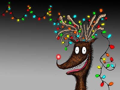 Rudolph Reindeer Christmas Lights Tangle Poster by Dain Fagerholm