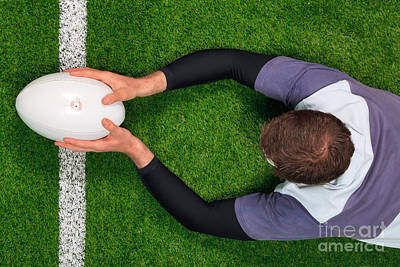 Rugby Player Scoring A Try With Both Hands. Poster by Richard Thomas