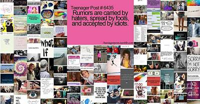 Poster featuring the digital art Rumors Equal Haters by Holley Jacobs