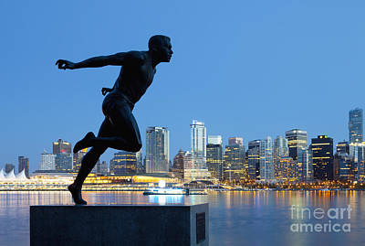 Running Sculpture With A Downtown Background Poster