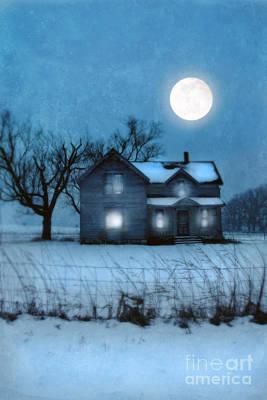 Rural Farmhouse Under Full Moon Poster by Jill Battaglia