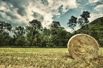 Rural Landscape With Hay Bale Poster
