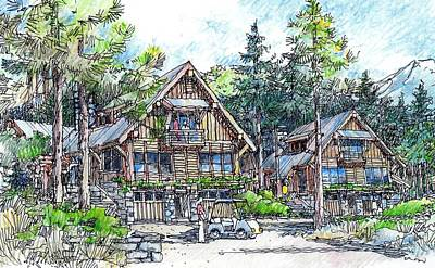 Poster featuring the drawing Rustic Cabins by Andrew Drozdowicz
