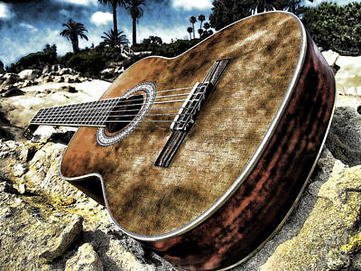Rustic Guitar Poster by Jason Abando