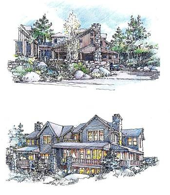 Poster featuring the drawing Rustic Home by Andrew Drozdowicz