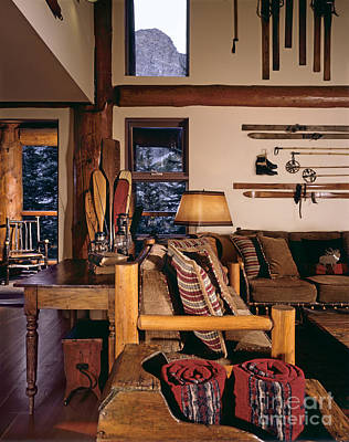 Rustic Lodge Interior Poster by Robert Pisano