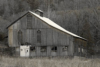 Rustic Weathered Mountainside Cupola Barn Poster by John Stephens