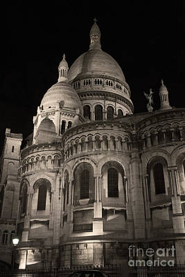 Sacre Coeur By Night Vii Poster by Fabrizio Ruggeri