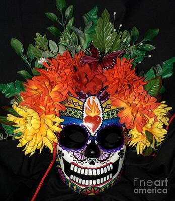 Sacred Heart Sugar Skull Mask Poster by Mitza Hurst