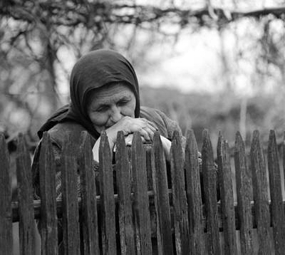 Sad Peasant At The Fence Poster