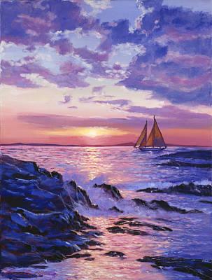 Sail At Dawn Poster by David Lloyd Glover