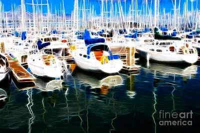Sail Boats At San Francisco's Pier 42 . Electrified Poster by Wingsdomain Art and Photography