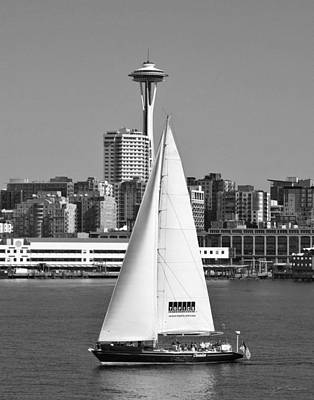 Sailboat And Space Needle Poster by Julie Magers Soulen