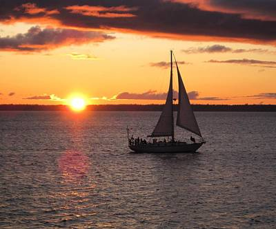 Poster featuring the photograph Sailboat At Sunset by Karen Molenaar Terrell