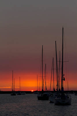 Sailboats At Sunrise Poster by Sven Brogren