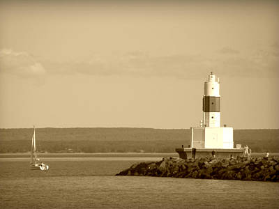 Poster featuring the photograph Sailing By The Marquette Presque Isle Lighthouse by Mark J Seefeldt