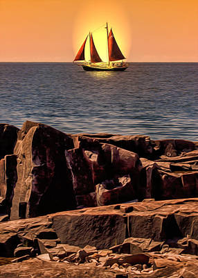 Sailing In Grand Marais Poster by Bill Tiepelman