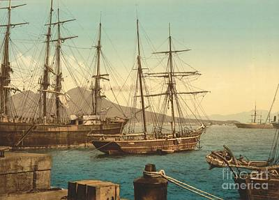 Sailing Ships In Naples Harbor Poster by Padre Art