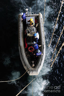 Sailors Conduct A Man Overboard Drill Poster