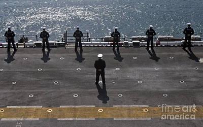 Sailors Man The Rails On The Amphibious Poster by Stocktrek Images