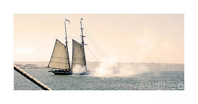 Sails And Cannons Poster by MaryJane Armstrong