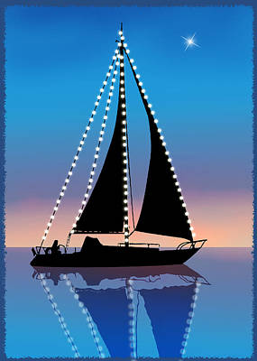 Sails At Sunset Silhouette With Xmas Lights  Poster by Elaine Plesser