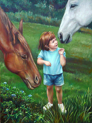 Poster featuring the painting Samantha Becomes An Equestrian by Nancy Tilles