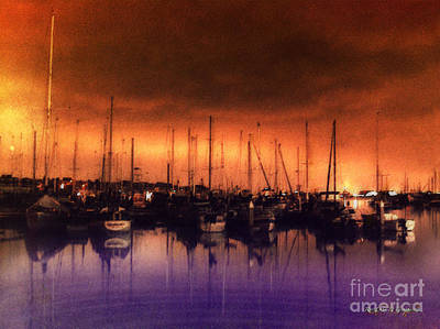 San Diego Harbor Midnight Moon Poster by Rhonda Strickland