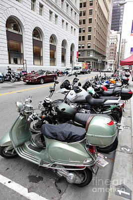 San Francisco - Scooters And Motorcycles Along Sansome Street - 5d17657 Poster by Wingsdomain Art and Photography