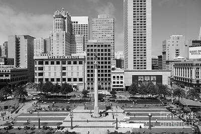 San Francisco - Union Square - 5d17938 - Black And White Poster by Wingsdomain Art and Photography